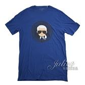 茱麗葉精品【全新現貨】KARL LAGERFELD 卡爾 老佛爺徽章印花造型棉質短T恤.藍