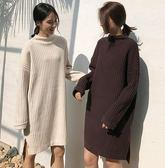 EASON SHOP(GU4660)前短後長側開衩圓領長袖長版坑條針織衫毛衣裙女落肩連身裙洋裝素色韓版寬鬆加厚