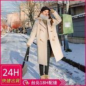 免運★梨卡 -【韓國製】甜美氣質牛角扣中長版防風保暖毛呢立領外套風衣長大衣/2色AR015