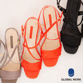 GLOBAL WORK女素色寬版交叉細帶低跟涼鞋-三色