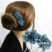 ?卡髮梳韓國髮飾品髮簪子插針髮卡絹紗頭飾成人優雅氣質盤髮插梳髮插