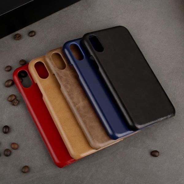 手機配件 適用新iphone XS磨砂頭層牛皮手機殼簡約商務真皮蘋果X單底保護殼手機殼 手機套 皮套