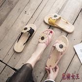 人字拖 糖果色女夏外穿平底2019新款韓版百搭套趾度假海邊沙灘涼鞋 QX12285 【花貓女王】