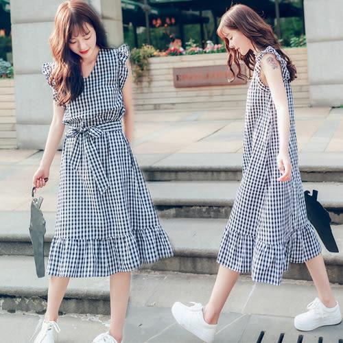 【GZ74】格子裙 韓版寬鬆顯瘦V領飛飛袖荷葉邊附綁帶無袖背心連身長裙連身裙洋裝