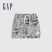 Gap嬰兒 Gap x Disney 迪士尼系列純棉直筒短褲 720020-灰底印花