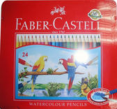Faber-Castell水性色鉛筆紅色精緻鐵盒裝24色組*115925