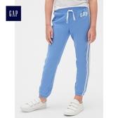 Gap女童 Logo印花抽繩鬆緊腰縮口褲 495580-摩爾藍色