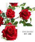 5頭高品質仿真玫瑰花落地假花客廳擺放花卉...