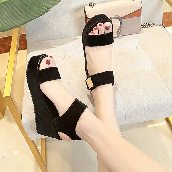 新款夏季chic涼鞋女韓版時尚厚底坡跟女鞋子學生魔術貼防水台