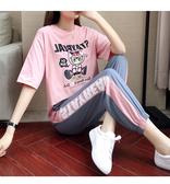 出清188 韓系時尚顯瘦短袖T恤休閒寬鬆套裝短袖褲裝