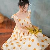 夏季睡裙純棉女士公主仙女風睡衣全棉波點寬鬆中長薄款甜美家居服