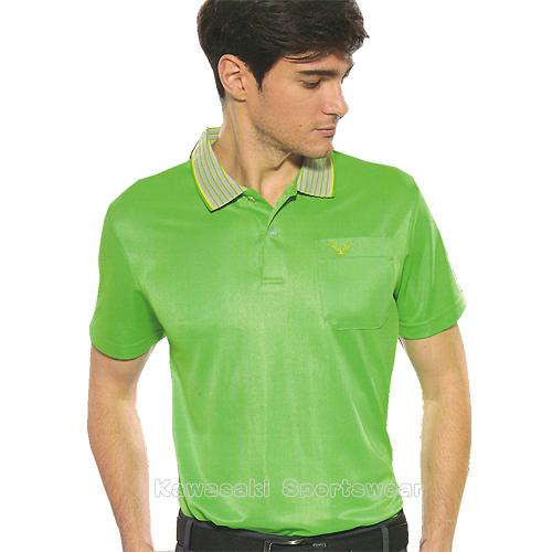 【日本 Kawasaki】男女運動休閒吸濕排汗短POLO衫-螢綠#K2239A1(排汗衫)