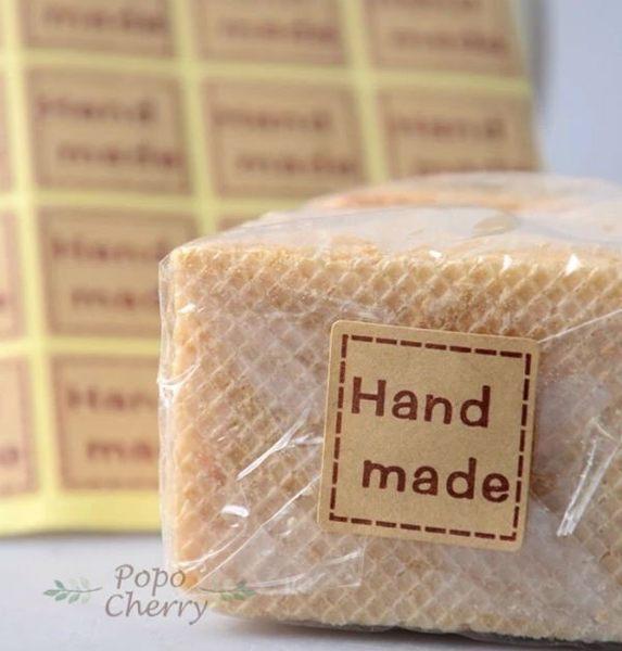24入 正方形 Hand made 封口貼紙 禮物 裝飾貼紙