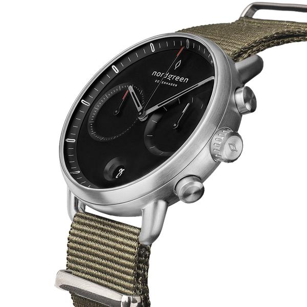 Nordgreen 42mm 波西米亞綠尼龍錶 Pioneer先鋒 北歐設計師手錶 藍寶石鏡面 計時錶 月光銀殼 極夜黑錶盤