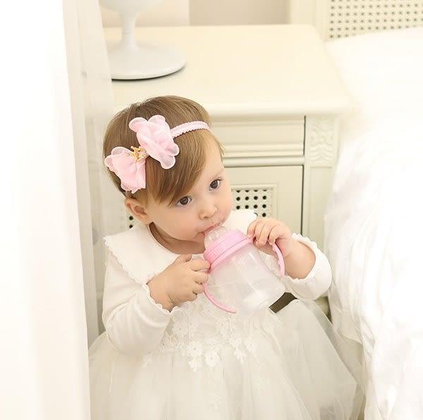 髮帶 現貨 韓國款雪紡皇冠蝴蝶結寶寶髮帶 嬰兒 髮飾 頭帶 兒童 女童 婚禮 拍照 果漾妮妮【 P4082】