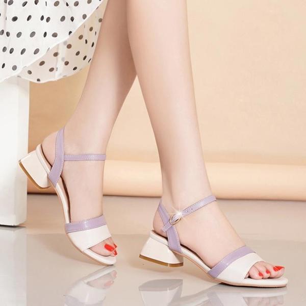 低跟鞋 大東中跟真皮涼鞋女夏2021新款學生仙女風粗跟女鞋時尚百搭高跟鞋