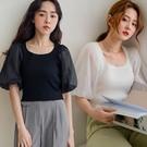 MIUSTAR 網紗澎袖方領針織上衣(共3色)【NJ0962】預購
