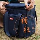 戶外野餐包飯盒袋手提包大容量保溫包【橘社小鎮】