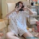 短袖睡衣 睡衣女夏季純棉短袖可愛網紅爆款開衫兩件套裝薄款春秋大碼家居服 快速出貨