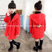 氣質女孩長版大衣 新年紅中大童保暖長袖外套 (3色) FM2619 好娃娃