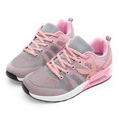 PLAYBOY 舒適簡約 針織綁帶氣墊休閒鞋-灰粉(Y5777灰粉)