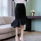 中長版蕾絲魚尾荷葉邊雪紡包臀裙(二色S-2XL可選)/設計家 ZY550