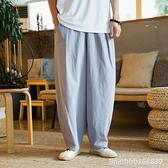 棉麻褲 棉麻男褲 夏季亞麻褲 寬鬆哈倫褲休閒褲復古中國風褲子男大碼 瑪麗蘇