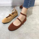 娃娃鞋 南在南方 韓國 減齡百搭純色絨面圓頭套腳淺口系扣娃娃鞋平底單鞋 霓裳細軟