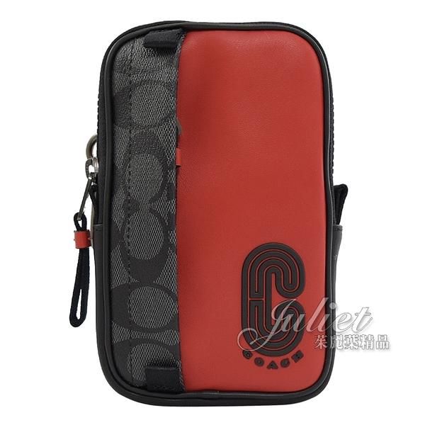 茱麗葉精品【全新現貨】COACH 91301 流線LOGO造型拼色掛式腰掛包.黑灰/紅