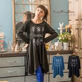 洋裝--稚氣的一面-小朋友印圖下擺不規折設計長上衣/洋裝(黑.藍M-2L)-A176眼圈熊中大尺碼