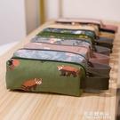 ins韓版版小清新手提筆袋女大學生高中可愛帆布大容量簡約文具袋 果果輕時尚