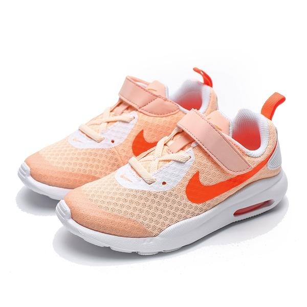 NIKE AIR MAX OKETO 白 橘 粉橘logo 魔鬼氈 運動鞋 慢跑鞋 中童 (布魯克林) CK0242-861