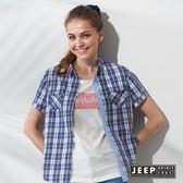 【JEEP】女裝 美式休閒時尚撞色格紋短袖襯衫 (藍色)
