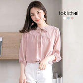 東京著衣-多色甜美女孩綁帶七分袖上衣(180349)