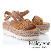 2019春夏_Keeley Ann簡約一字帶 牛皮編織厚底涼鞋(棕色) -Ann系列