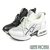 U38-20092 女款韓版皮革拼接裝飾鞋帶直套式氣墊厚底休閒運動鞋【GREEN PHOENIX】