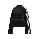 adidas 長袖T恤 Flared Sleeve Velour Sweatshirt 黑 白 女款 天鵝絨 寬袖 【PUMP306】 ED4752