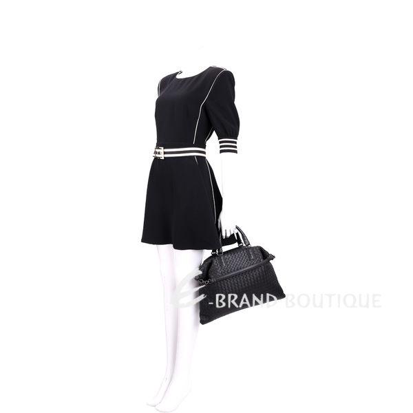BOTTEGA VENETA CONVERTIBLE 編織小羊皮兩用提包(中/黑色) 1630247-58