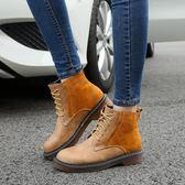粗跟短靴 秋冬真皮系帶馬丁靴 英倫靴子《小師妹》sm852
