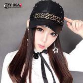 新款個性鉚釘pu皮棒球帽女士季透氣韓版時尚遮陽出游鴨舌帽子『韓女王』