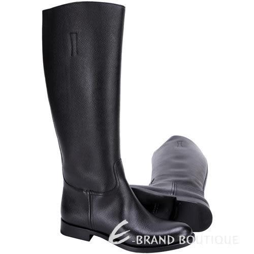 [ NG大放送 ] PRADA 黑色防刮小牛皮長靴 1590062-01