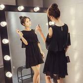 FINDSENSE G5 韓國時尚 露肩 雪紡 百褶裙 純色 荷葉邊 高腰 顯瘦 連身裙