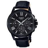 【CASIO】 條紋時尚三眼三針羅馬紳士皮帶腕錶-黑框黑面(MTP-EX300BL-1A)