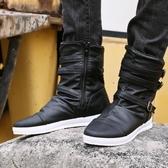 男靴子潮流馬丁靴男英倫高筒鞋韓版朋克中筒牛仔皮靴拉錬鉚釘馬靴 依凡卡時尚