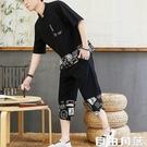 男短袖t恤 男短袖套裝 夏季棉麻短袖t恤 休閒亞麻衣服 一套 中式 自由角落