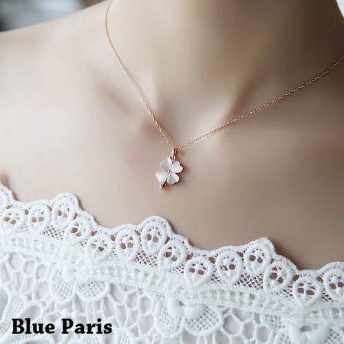 項鍊 - 韓版可愛四葉草貓眼石鎖骨鏈+飾品盒【21539】 藍色巴黎【防過敏】