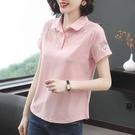 女士t恤2021年夏新款棉質Polo衫女半袖中年大碼翻領媽媽短袖寬鬆 8號店