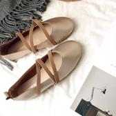 【伊人閣】奶奶鞋新款夏季晚晚溫柔風平底仙女單鞋女豆豆鞋淺口芭蕾單鞋