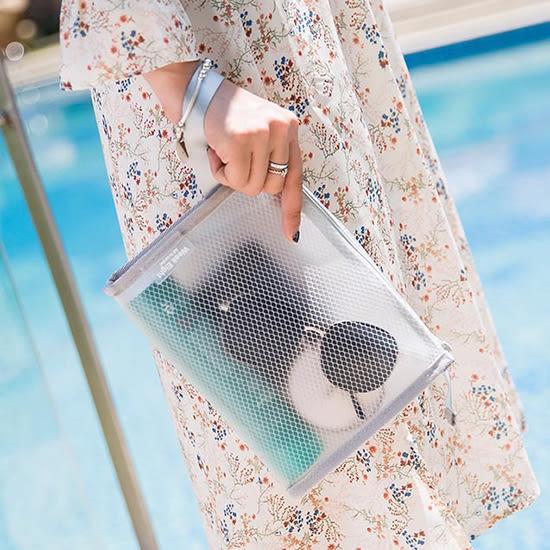 簡約網格純色收納包 韓國 旅行 便攜 網眼 防潑水 洗漱包 化妝包 游泳用品 整理 【K130】♚MY COLOR♚