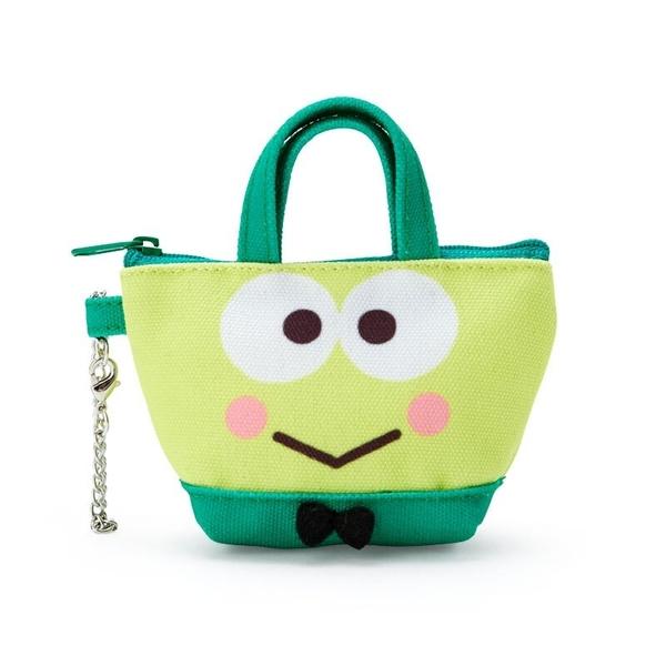 小禮堂 大眼蛙 造型帆布零錢包 手提零錢包 鑰匙包 (綠 手提袋) 4550337-60606